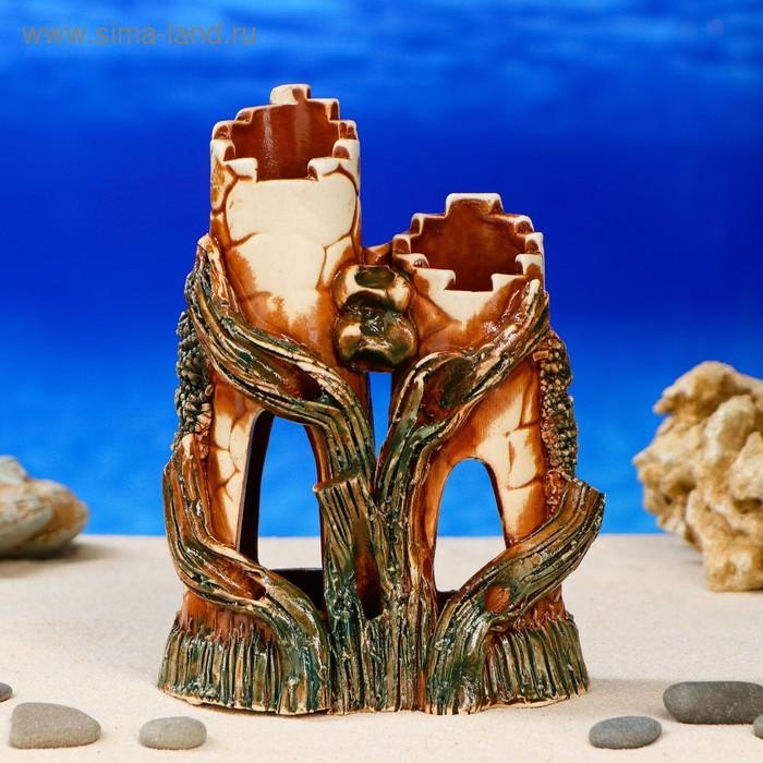 """Декорации для аквариума """"Башни с деревом"""" малая, микс"""