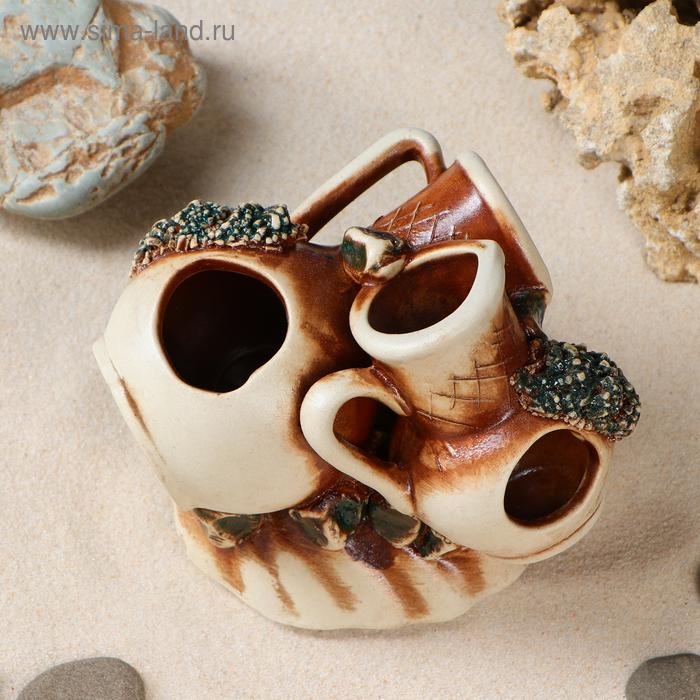 Декорации для аквариума ''Кувшин на ракушке'' коричневый