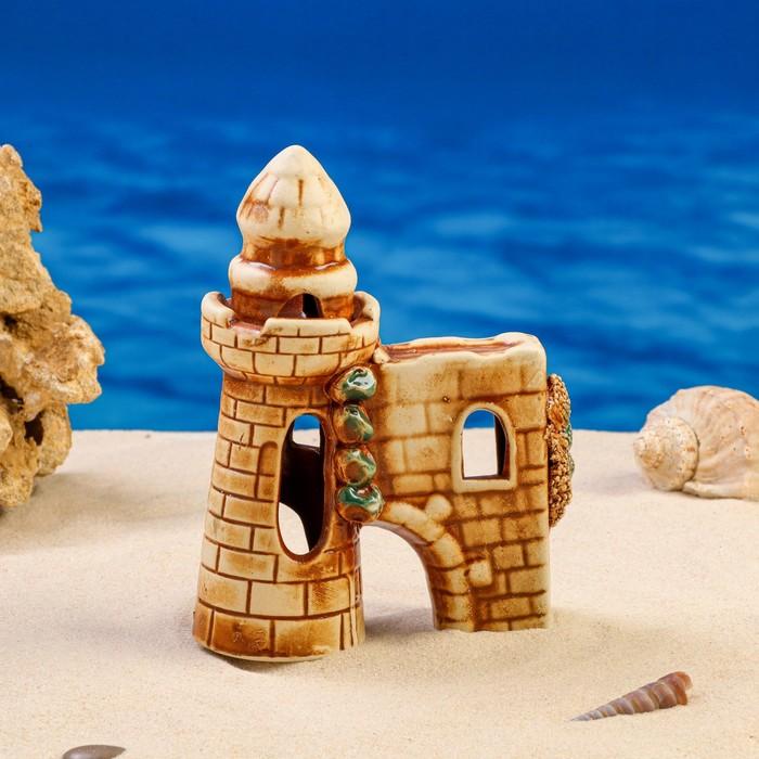 """Декорации для аквариума """"Башня с гротом"""" микс"""