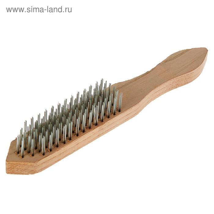 Щетка Sparta, 6-рядная металлическая с деревянной ручкой