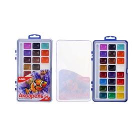 Акварель 24 цвета, в пластиковой упаковке, без кисточки