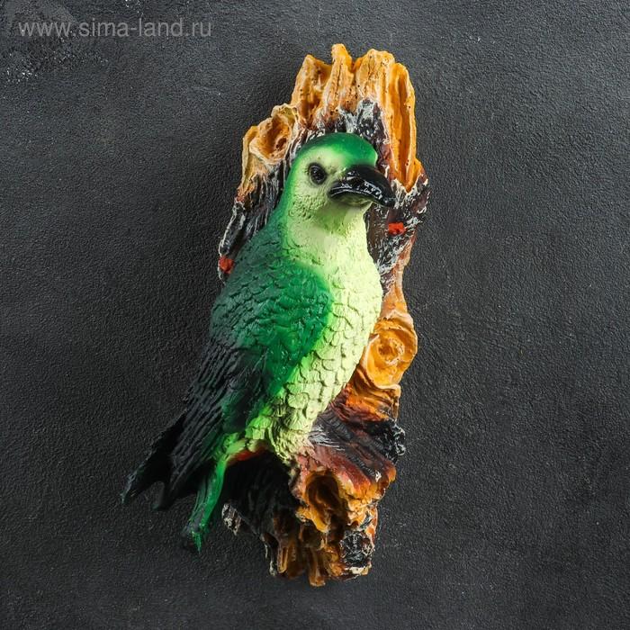 """Садовая фигура подвесная """"Птица на ветке"""", зелёная"""