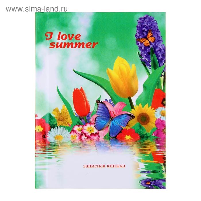 """Записная книжка твёрдая обложка А7, 64 листа """"Яркие цветы"""", глянцевая ламинация"""
