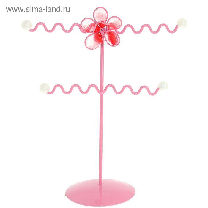 """Подставка для украшений """"Цветочек"""", два яруса, цвет розовый"""