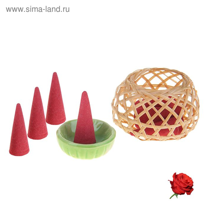 "Набор благовоний ""Корзинка"": 8 конусов, подставка, аромат роза, цвета МИКС"