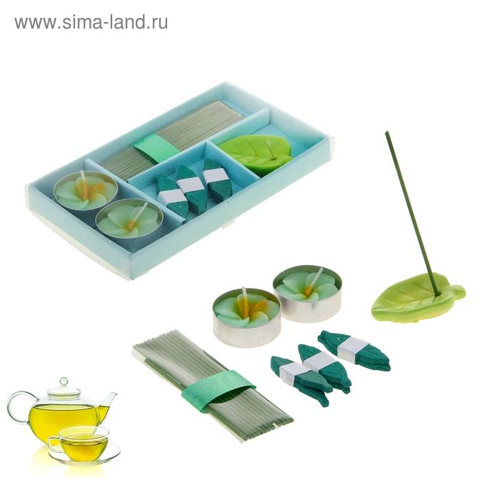 """Набор благовоний """"Вдохновение"""": 13 аромапалочек, 2 свечи, 6 листиков, подставка, аромат зелёный чай"""