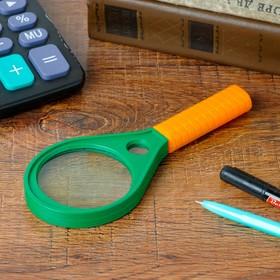 Лупа 5х, d=6 см «Капля», с оранжевой ручкой, зелёная, 17 см