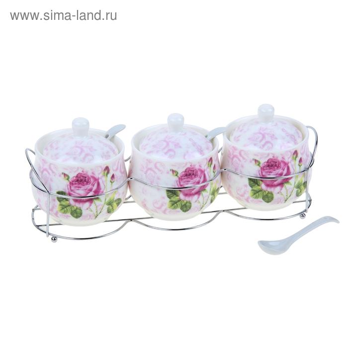 """Набор банок для сыпучих продуктов 250 мл 3 шт """"Розы"""", на подставке"""