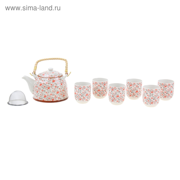 """Набор для чайной церемонии 7 предметов """"Оранжевый сад"""" (чайник 900 мл, чашка 70 мл)"""