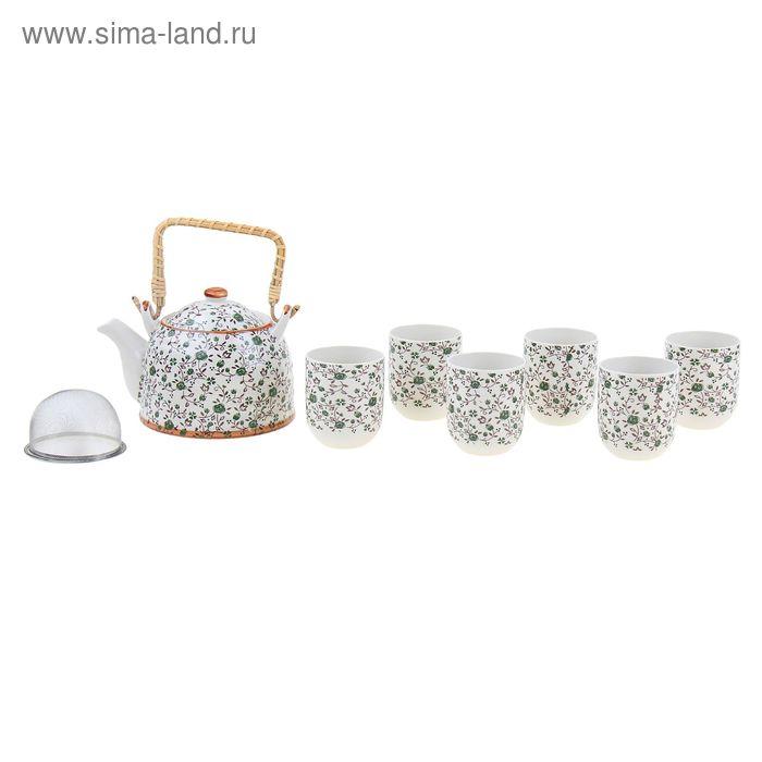 """Набор для чайной церемонии 7 предметов """"Зеленый сад"""" (чайник 900 мл, чашка 70 мл)"""