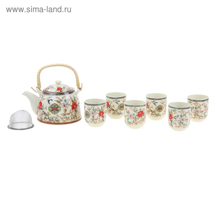 """Набор для чайной церемонии 7 предметов """"Прикосновение"""" (чайник 900 мл, чашка 70 мл)"""