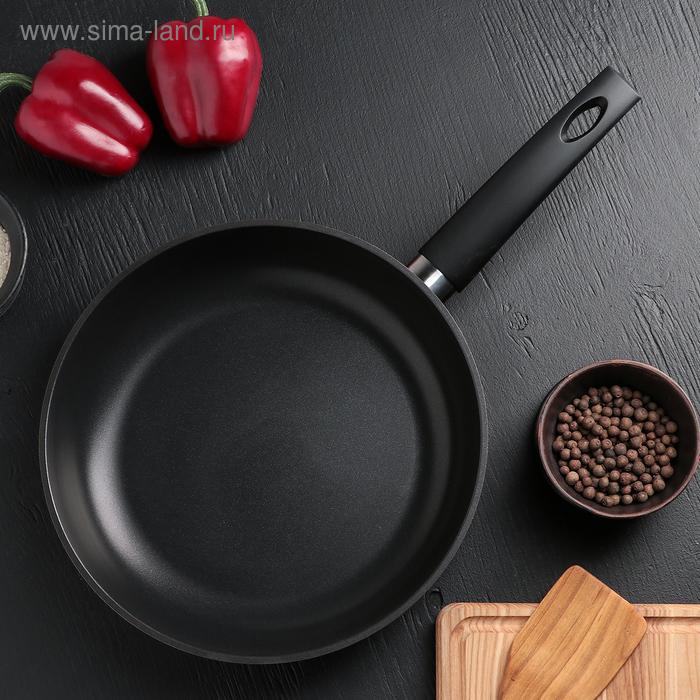 """Сковорода без крышки d=28 см """"Изумруд"""", с пластиковой ручкой, цвет МИКС"""