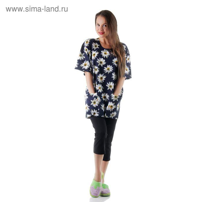 Комплект женский (футболка, бриджи) с08-592-009, цвет микс/набивка. размер 58 (BXXL)