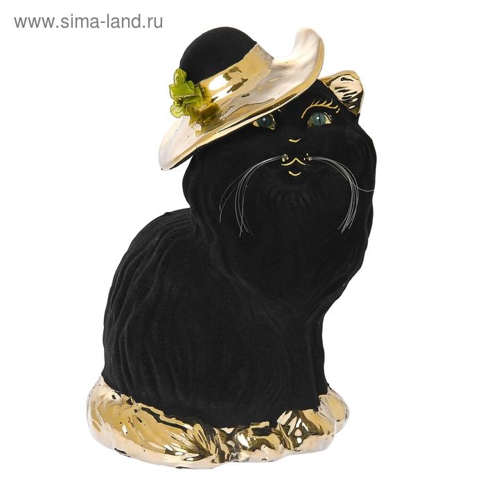 """Копилка """"Перс"""" в шляпе, большая, булат, флок, чёрная"""