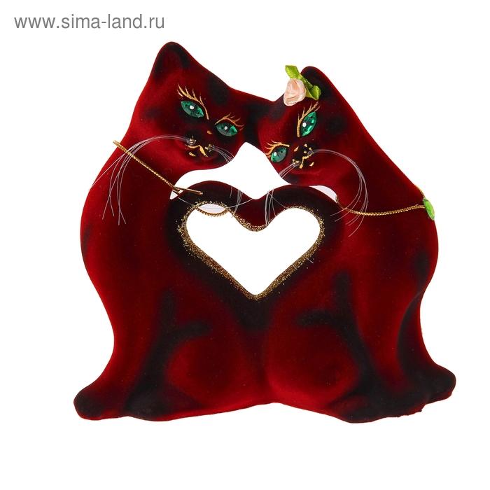 """Копилка """"Кошки"""" сердце, малая, флок, бордовая, зелёная страз"""