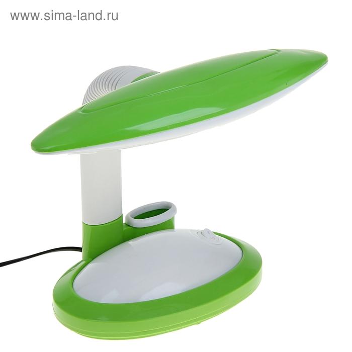 Лампа настольная LED с подставкой для канцтоваров с выкл. зелёная