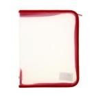 Папка для тетрадей А5 «Офис» молния вокруг, пластиковая, прозрачная, красная