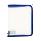 Папка для тетрадей А5 «Офис» молния вокруг, пластиковая, прозрачная, синяя