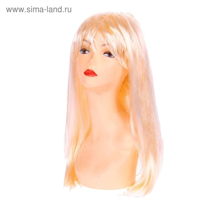 """Парик """"Блондинка"""" прямые длинные волосы с челкой"""