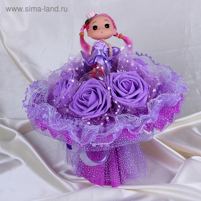 """Букет из игрушек """"Куколка"""" фиолетовый"""