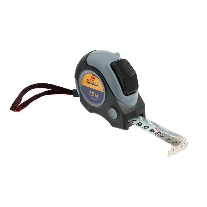 Рулетка TUNDRA premium, двухкомпонентный корпус, автостоп, 7.5м х 25 мм, магнитный зацеп