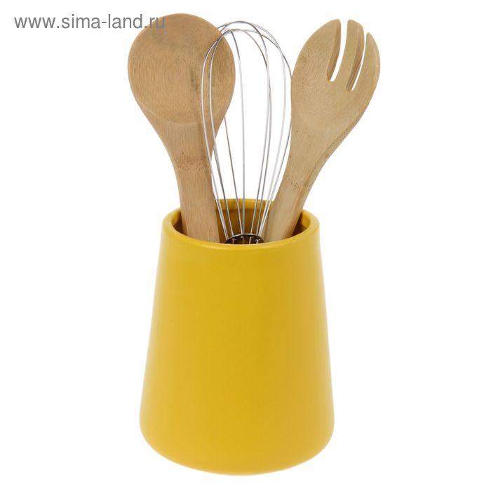 """Кулинарный набор 3 предмета на подставке 25х11 см """"Акцент"""", желтый"""