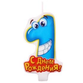 """Свеча в торт С Днем Рождения """"1"""""""