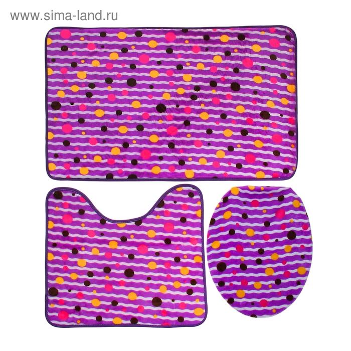 "Набор ковриков для ванной и туалета 3 шт, 50х80 см, 45х50 см, 35х40 см ""Полоска"", цвет МИКС"