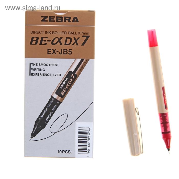 Ручка-роллер Zebra ZEB-ROLLER BE-& DX7 (EX-JB5-R), узел 0,7мм, игловидный пишущий наконечник, красный
