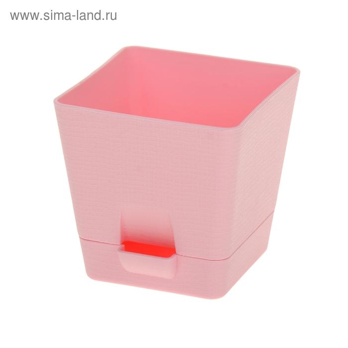Горшок для цветов с поддоном 1 л Le Parterre, d=12 см, квадратный, цвет розовый