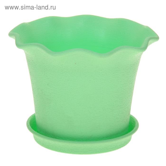 Горшок для цветов с поддоном 4 л Le Fleurе, d=28 см, цвет зеленый