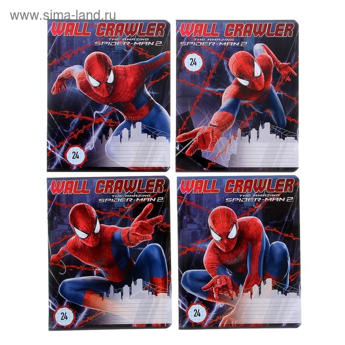 """Тетрадь 24 листа клетка Marvel """"Человек-паук"""", картонная обложка, водный лак, МИКС"""