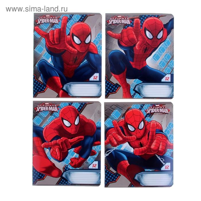 """Тетрадь 12 листов крупная клетка Marvel """"Человек-паук"""", обложка мелованный картон, полный УФ-лак, МИКС"""