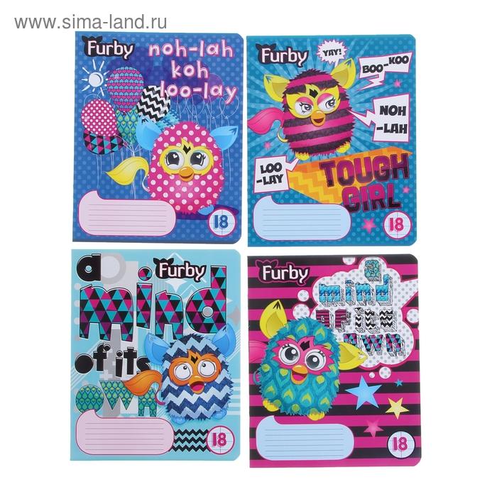 Тетрадь 18 листов линейка Furby, картонная обложка, твин УФ-лак, МИКС