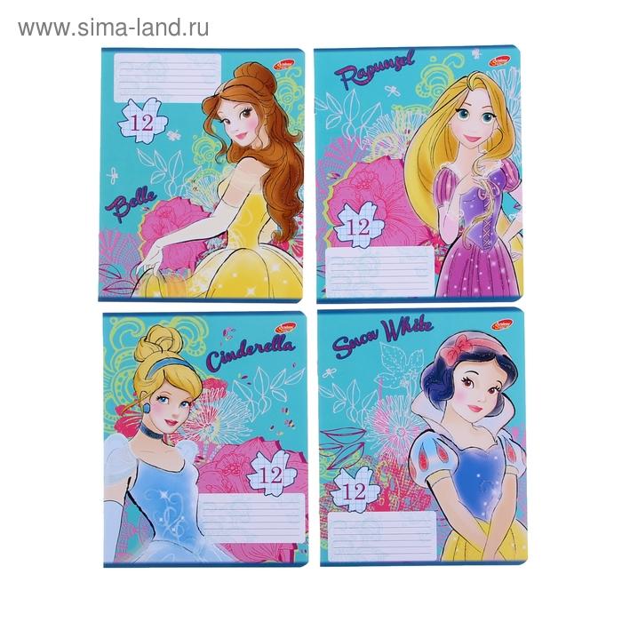 """Тетрадь 12 листов клетка Disney """"Принцессы"""", обложка мелованный картон, глиттер, МИКС"""