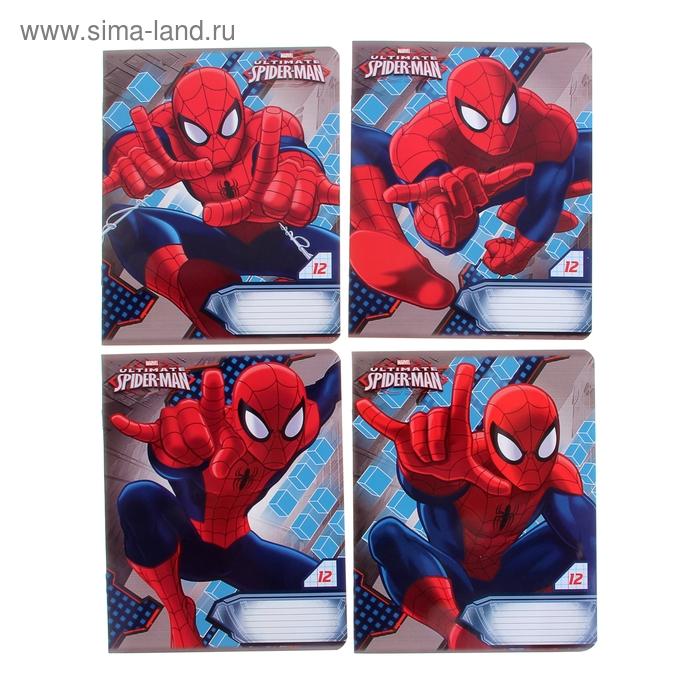 """Тетрадь 12 листов клетка Marvel """"Человек-паук"""", обложка мелованный картон, полный УФ-лак"""