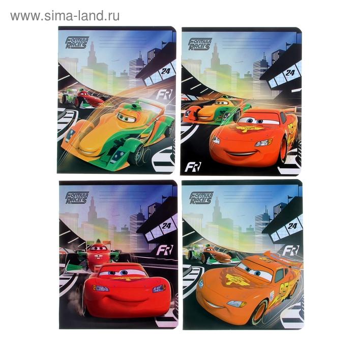 """Тетрадь 24 листа клетка Disney """"Тачки"""", картонная обложка, полный УФ-лак, МИКС"""