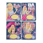 Тетрадь 18 листов клетка Barbie обложка мелованный картон, выборочный УФ-лак, фольга, МИКС