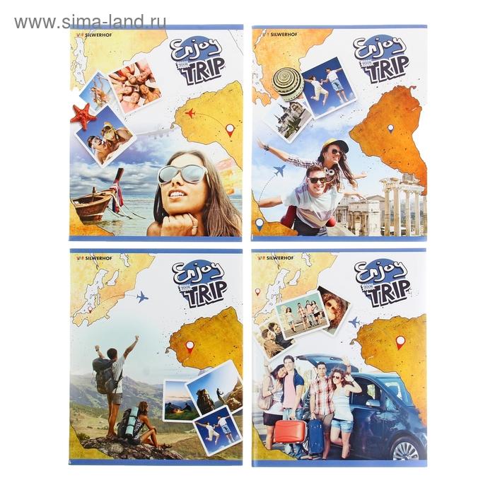 Тетрадь 48 листов клетка Travel, картонная обложка, выборочный лак, 4 вида МИКС