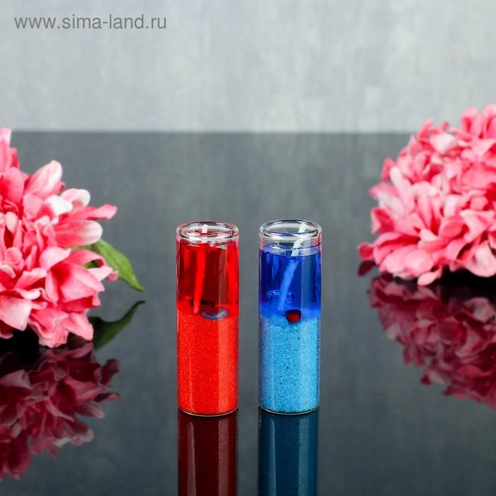 """Свеча гелевая (набор 2 шт) """"Побережье"""", цвет сине-красный"""