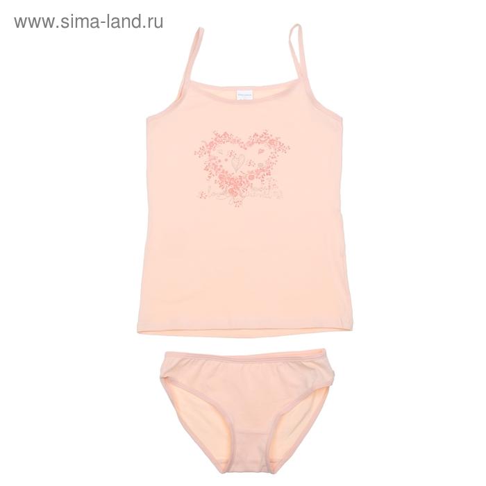 Комплект для девочки (майка+трусы), рост 152-158 см (80), цвет светло-персиковый CAJ 3174
