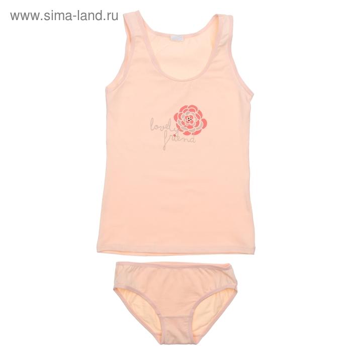Комплект для девочки (майка+трусы), рост 140 см (72), цвет светло-персиковый CAJ 3176
