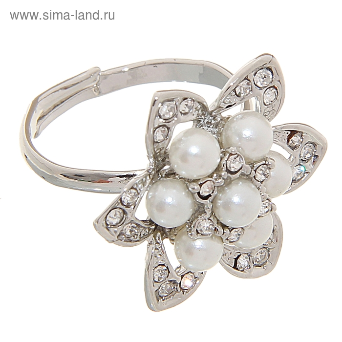 "Кольцо ""Цветок жемчуга"", цвет серебро, безразмерное"