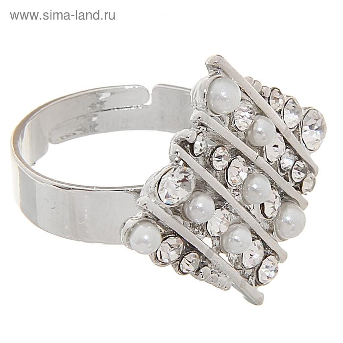 """Кольцо """"Жемчужный ромб"""", цвет белый в серебре, безразмерное"""