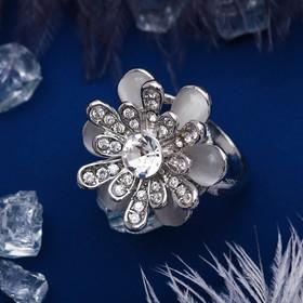 """Кольцо """"Цветок"""", цвет серебро, размер МИКС"""