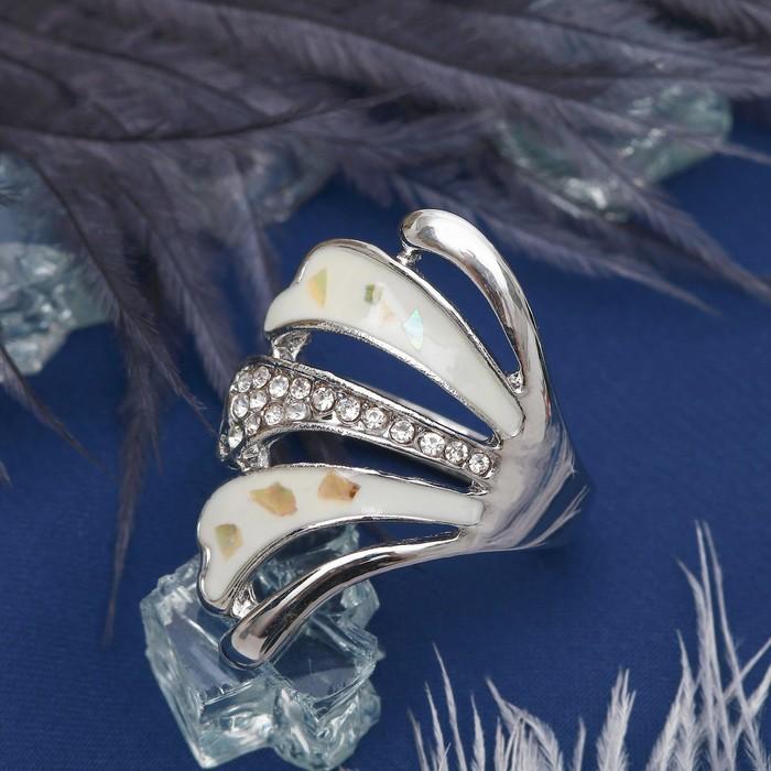 """Кольцо """"Веер листьев"""", цвет белый в серебре, размер МИКС"""