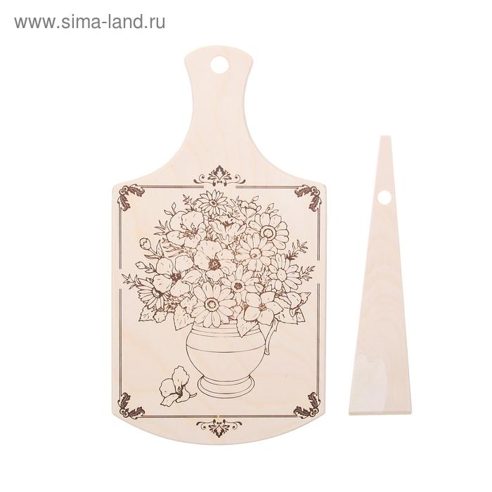 """Доска разделочная """"Береза"""", рисунок цветы, лопатка в подарок"""