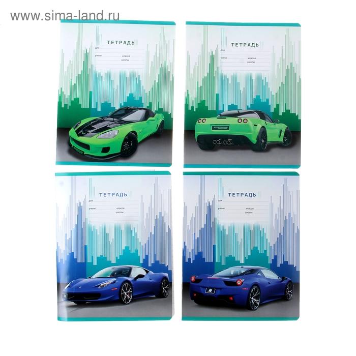 Тетрадь 18 листов линейка Speed car, картонная обложка, 4 вида МИКС
