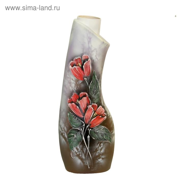 """Ваза напольная """"Лагуна"""" цветы, лепка, серая"""