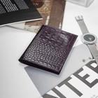 Обложка на автодокументы + паспорт, фиолетовый кайман